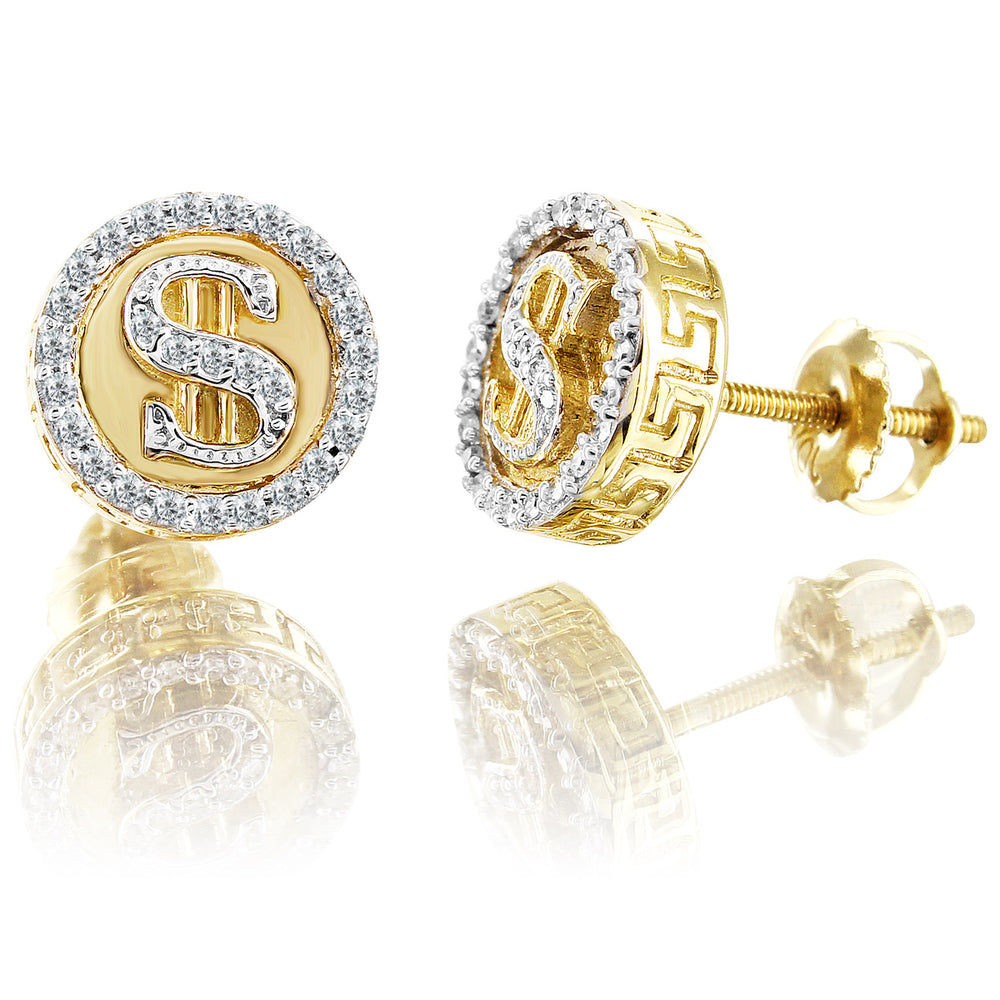 10K Yellow Gold Round Cut Money Diamond Earrings