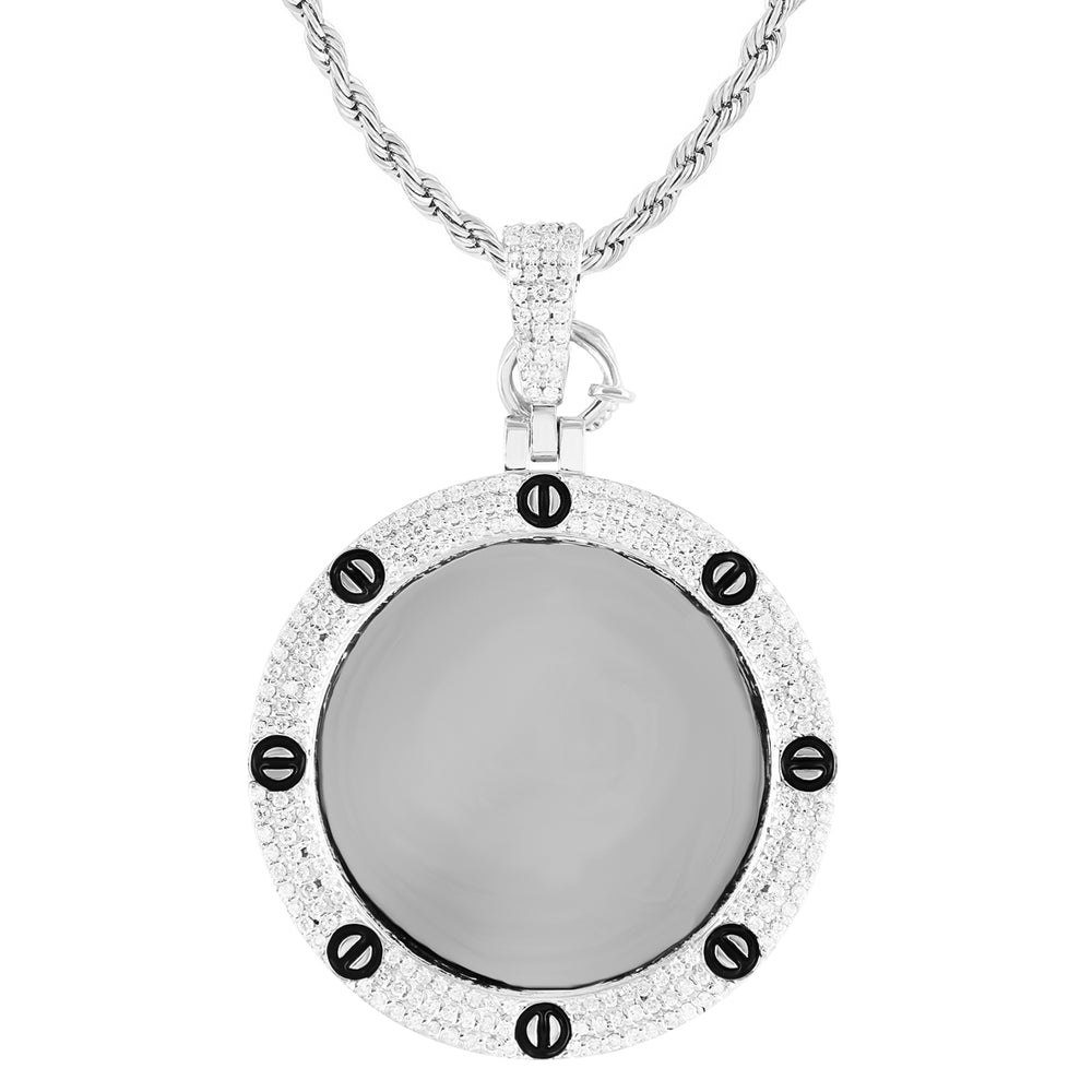 10k White Gold Diamond Nail Bezel Picture Pendant