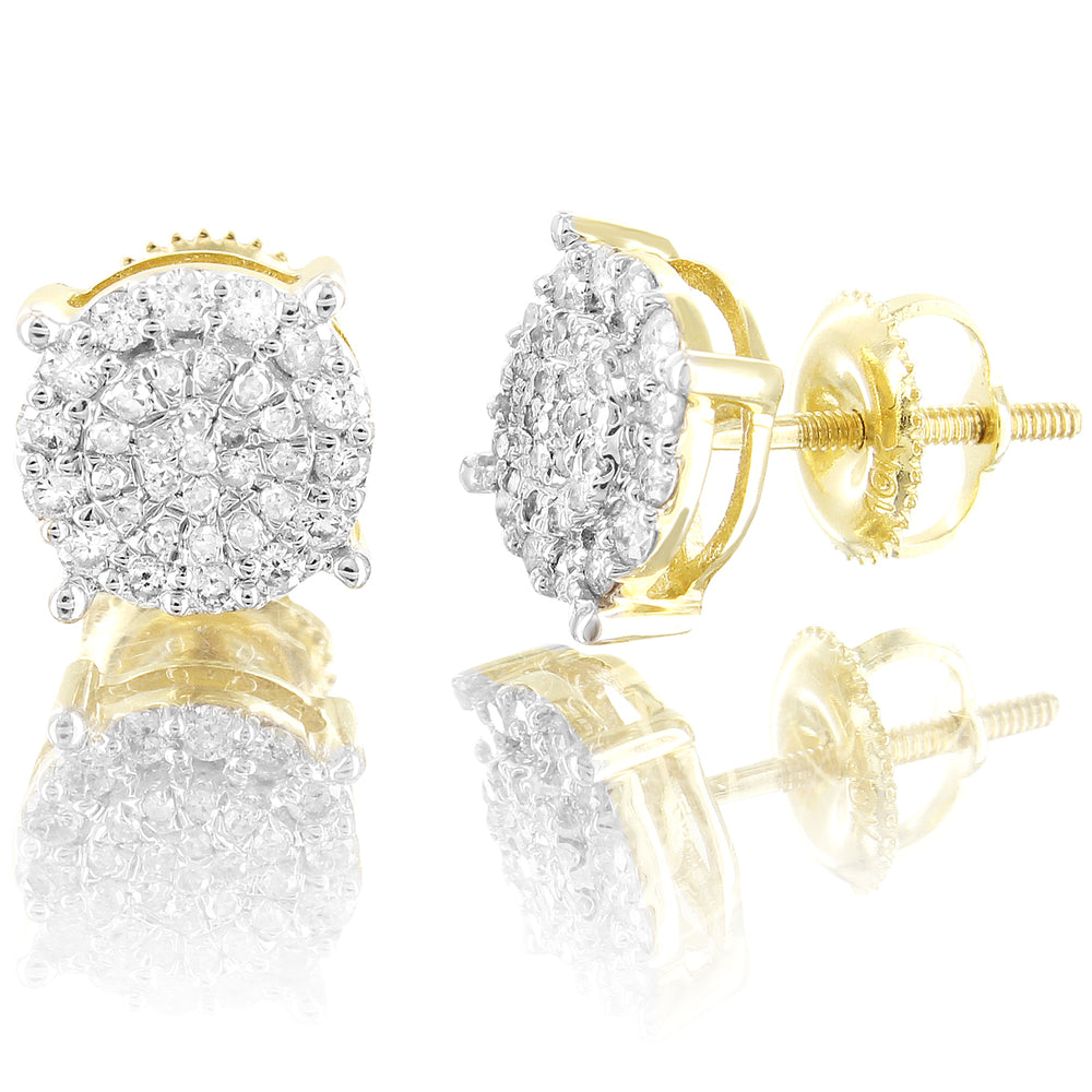 Round Prong Micro Pave 10K Gold Diamonds Stud Earrings