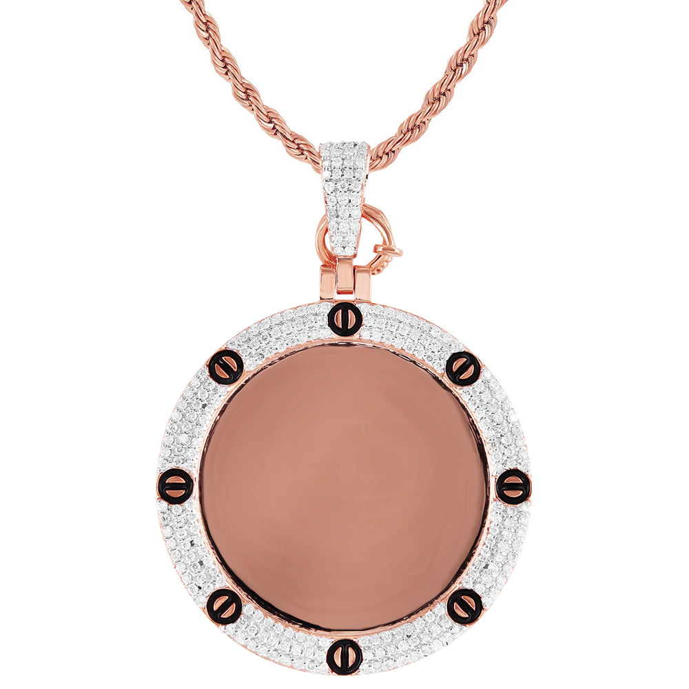 10k Rose Gold Diamond Nail Bezel Picture Pendant