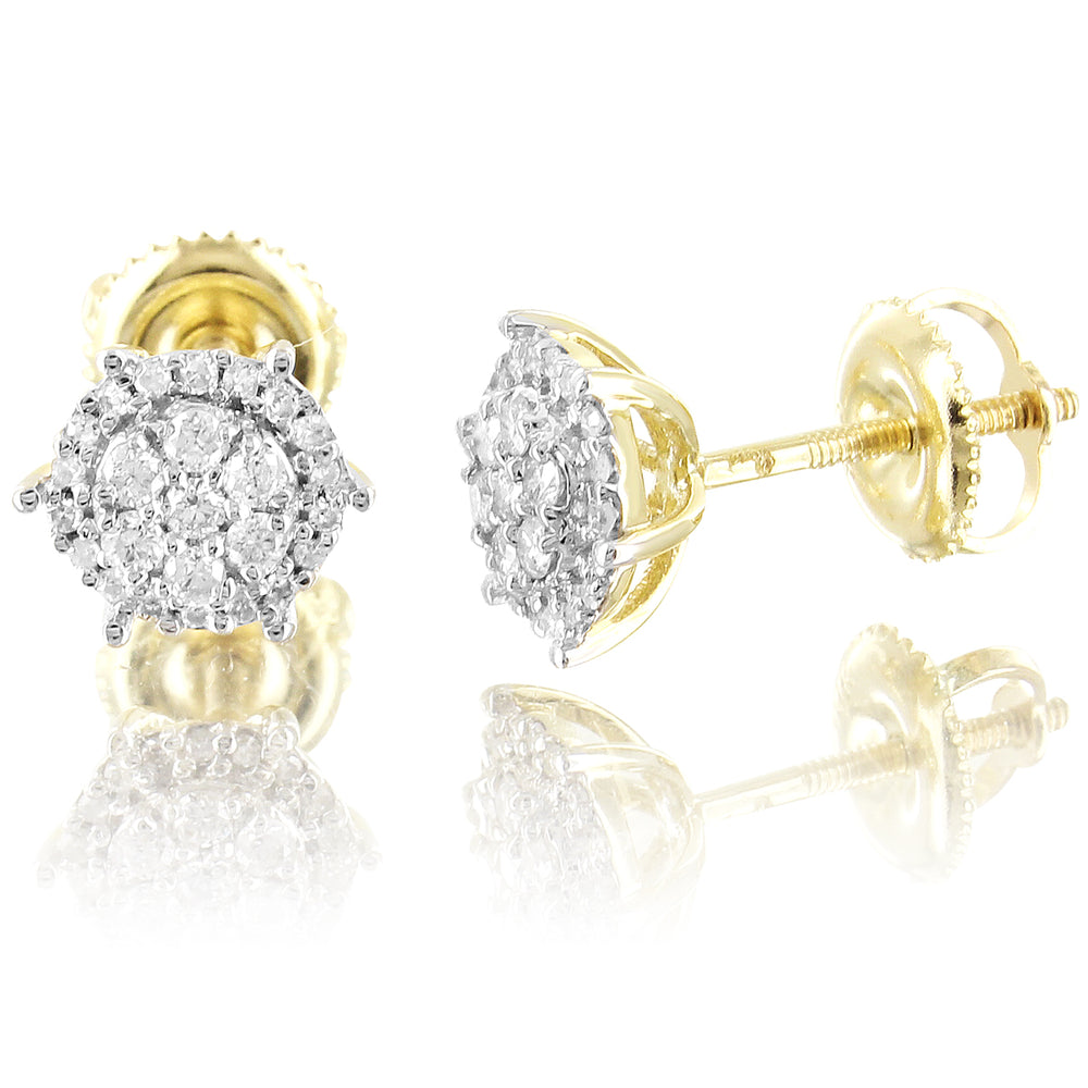 Solitaire Diamonds Round 10K Gold Prongs Studs Earrings