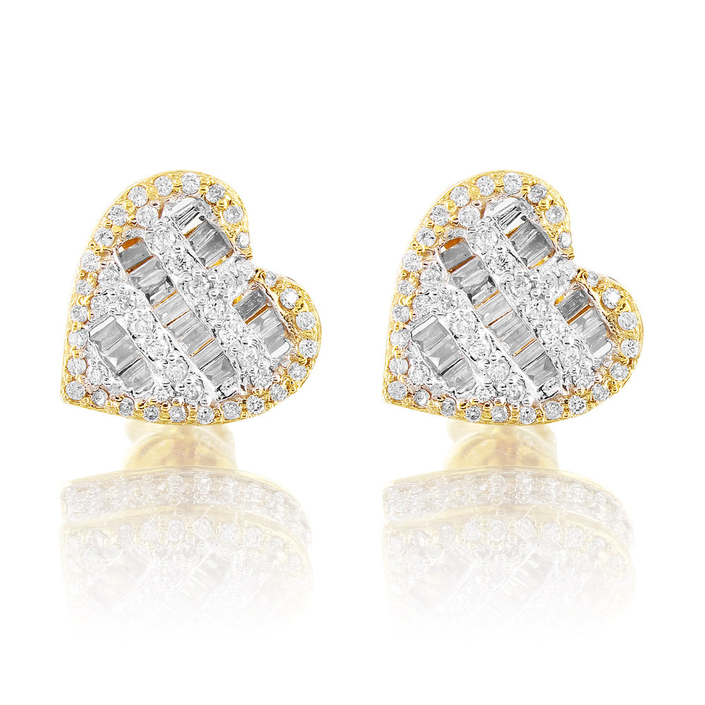 10K Yellow Gold Heart Baguette Diamond Earrings