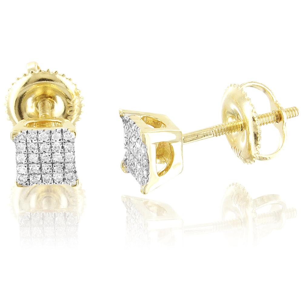 Square Shape 10K Gold Diamonds Screw Back Studs Earrings