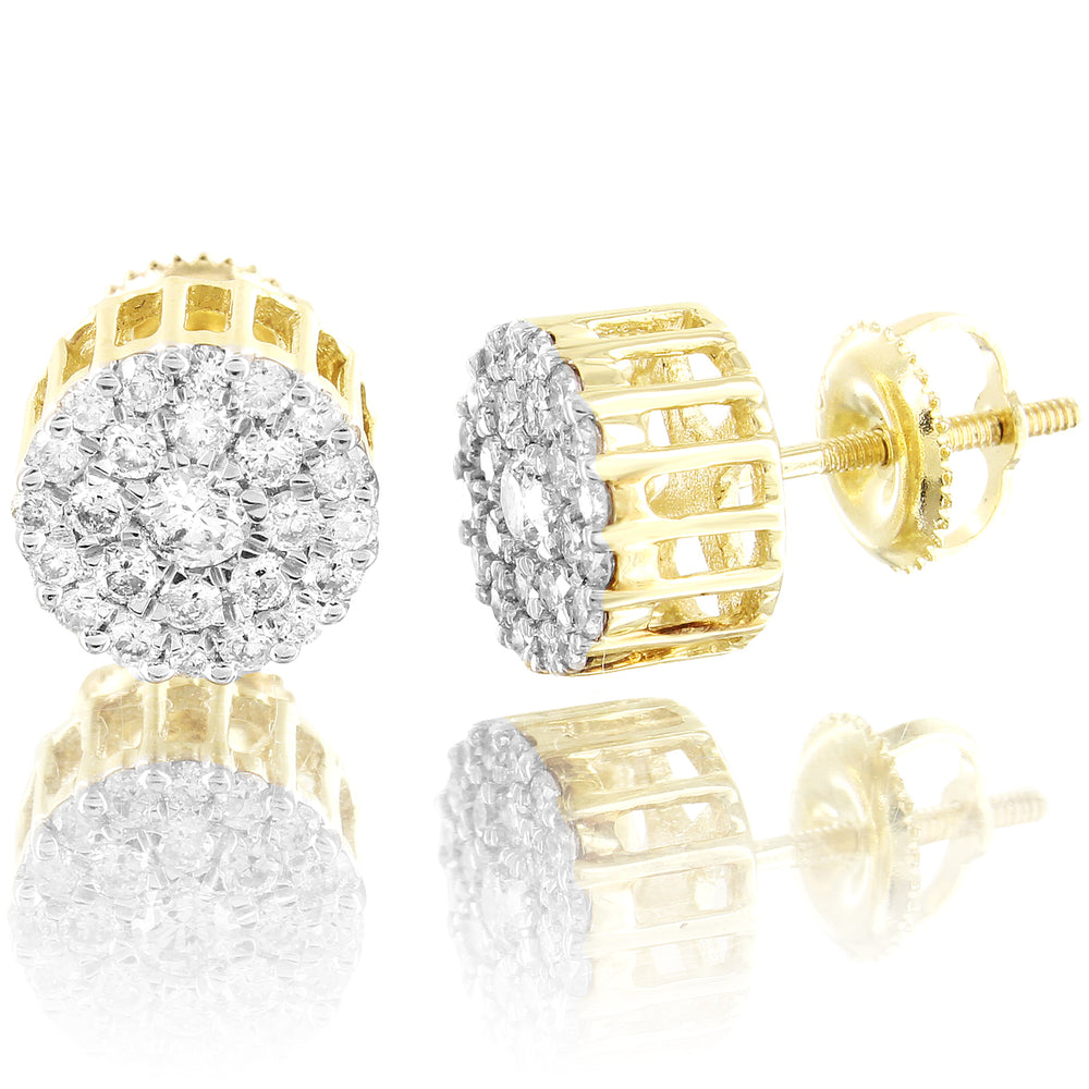 10K Gold Solitaire Cluster Micro Pave Diamonds Earrings
