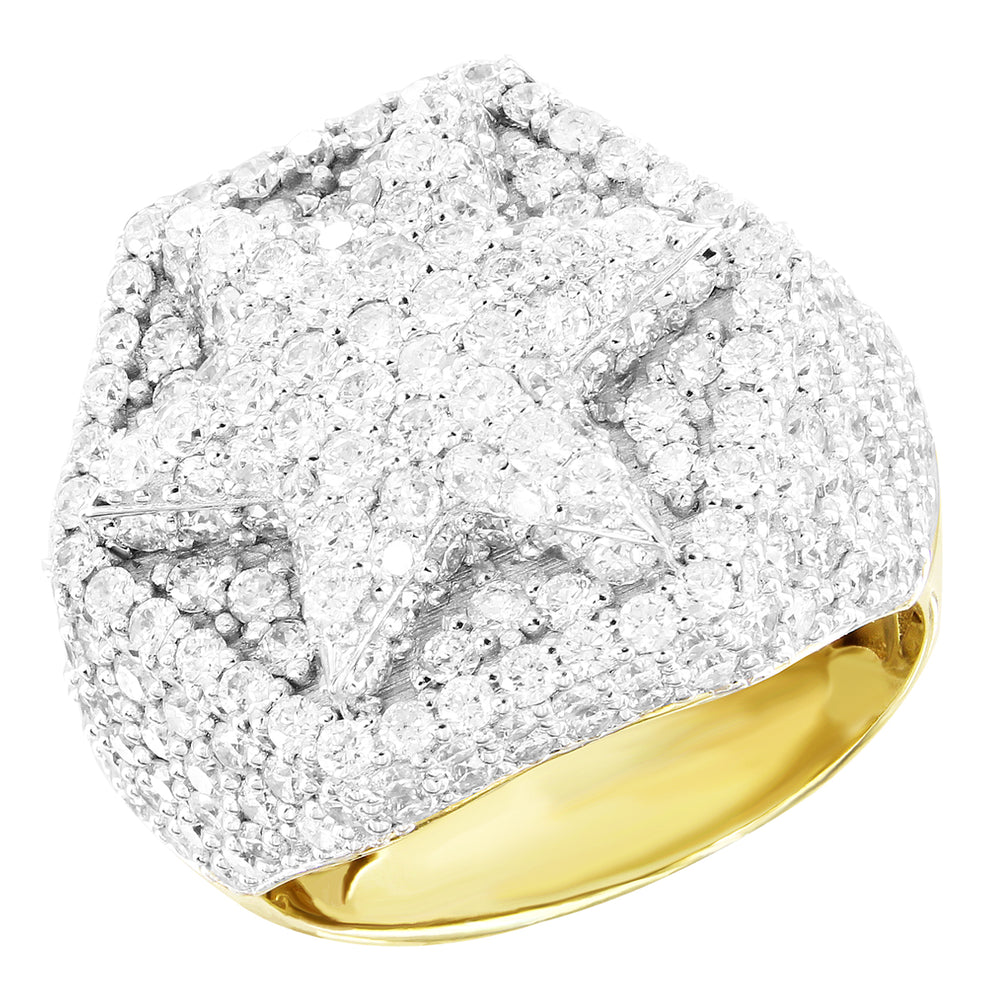 10K Gold Hexagon Shape Star Genuine Diamonds Ring