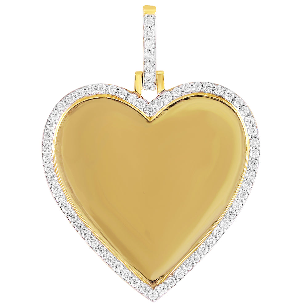 10K Gold Heart Memory Pendant Diamond Bezel