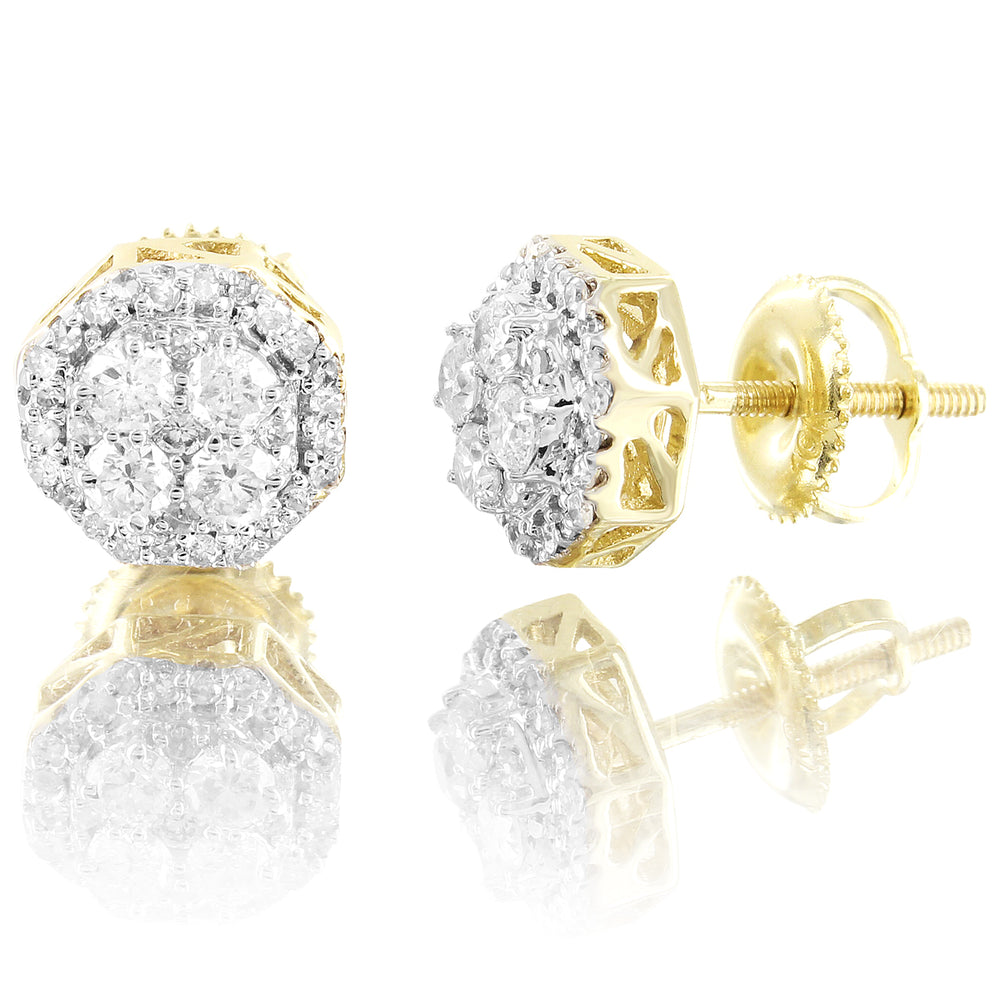 10K Gold Micro Pave Diamonds Octagon Shape Unisex Earrings