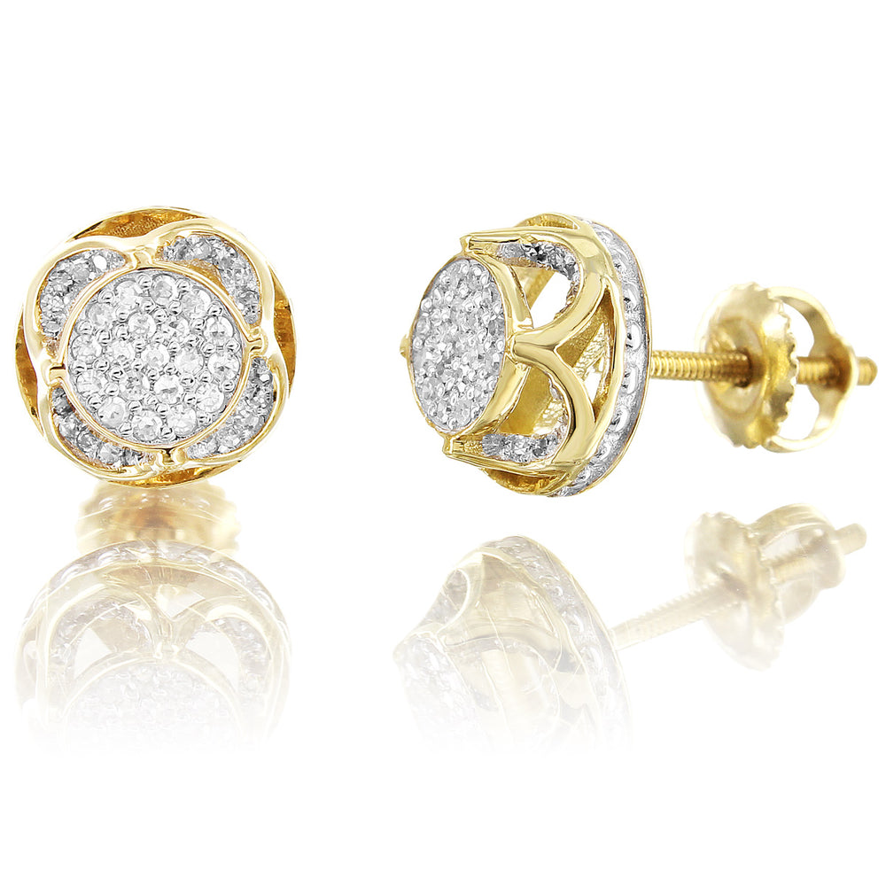 10K Yellow Gold 360 Degree Circle Pave Set Diamond Earrings
