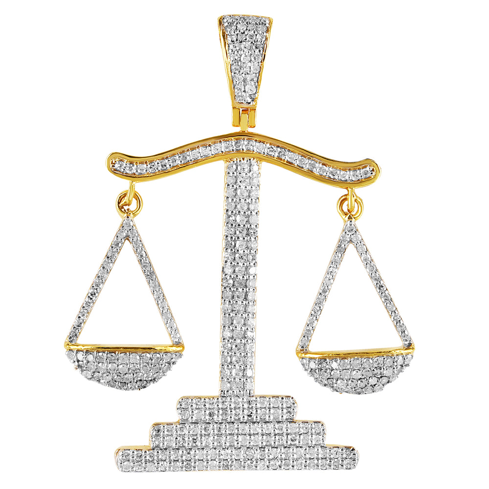 10K Yellow Gold Libra Scale Diamond Pendant