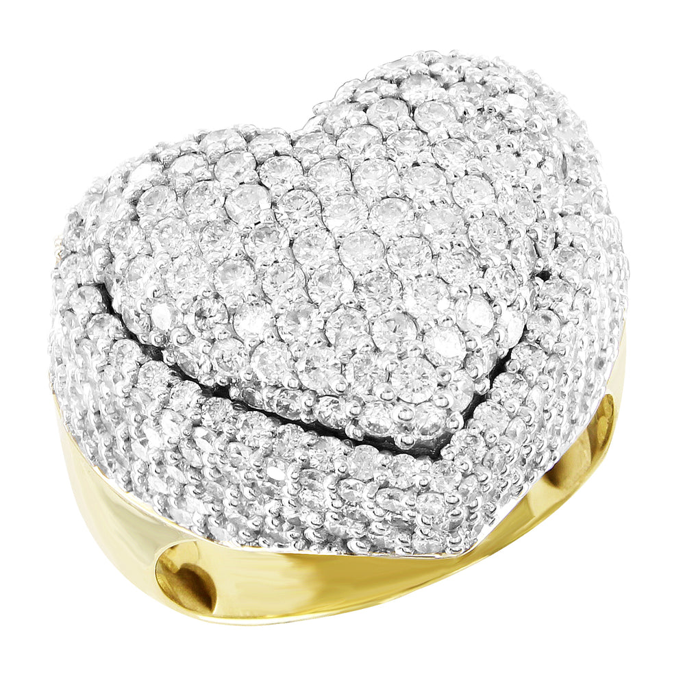 Diamonds Puffed Heart 10K Gold Custom Ring