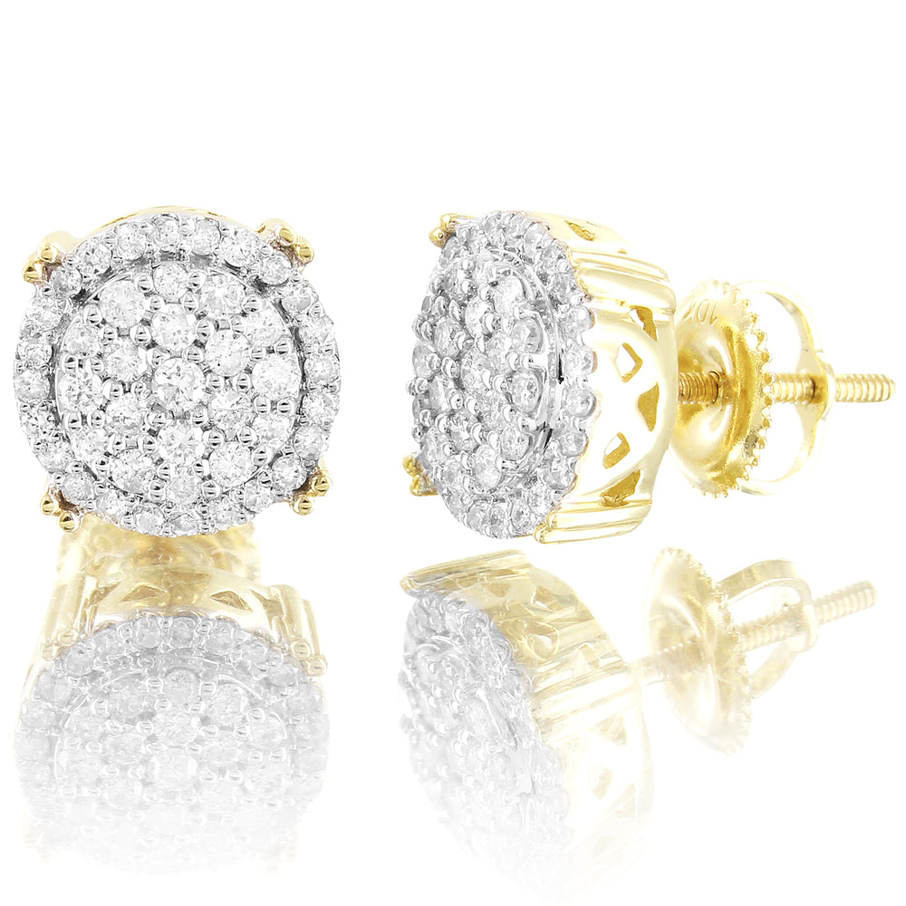 10K Gold Unisex Round Micro Pave Prong Diamonds Classy Earrings