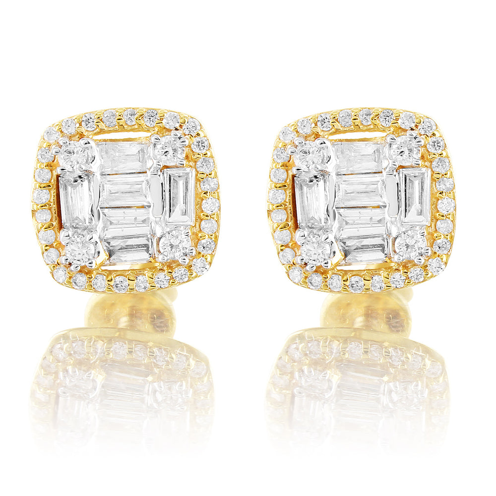 10K Yellow Gold Halo Square Baguette Diamond Earrings