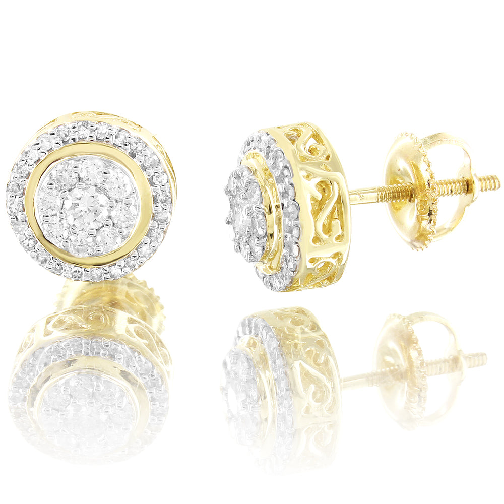 Round Halo Diamonds 10K Yellow Gold Screw back Earrings
