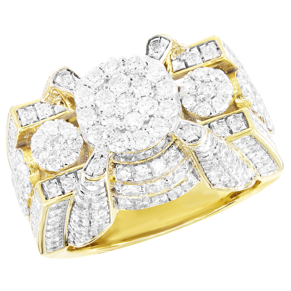 Round Center Cluster Diamonds Flower Style 10K Gold Ring