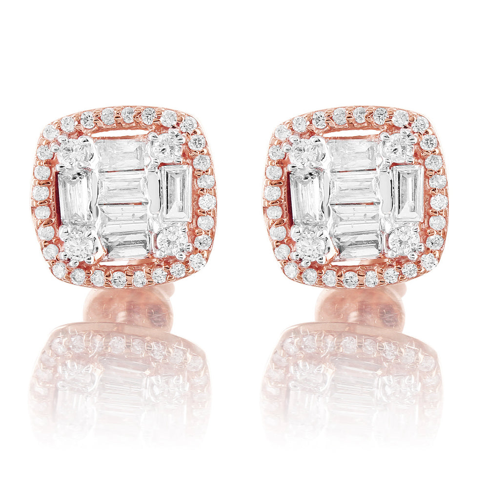 10K Rose Gold Halo Square Baguette Diamond Earrings
