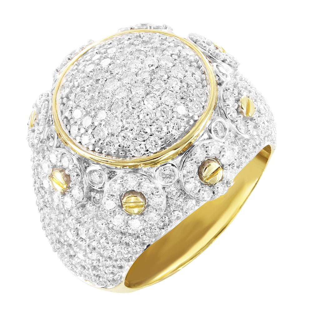 10K Gold Round Face Flower Cluster Diamonds Men's Ring