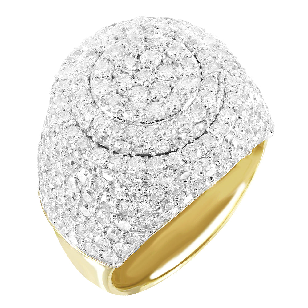 Round Layered Diamonds 10K Gold Custom Men's Ring