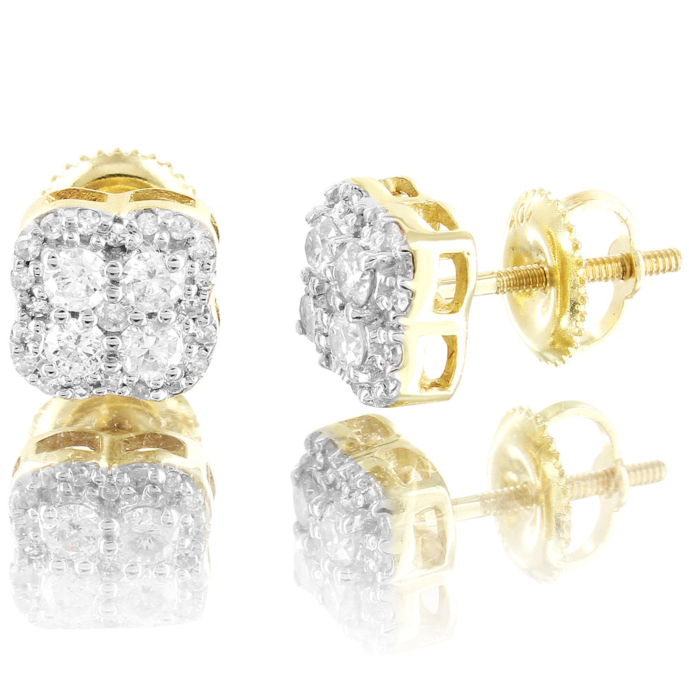 10K Gold Solitaire Clove Style Diamonds Gift Designer Earrings