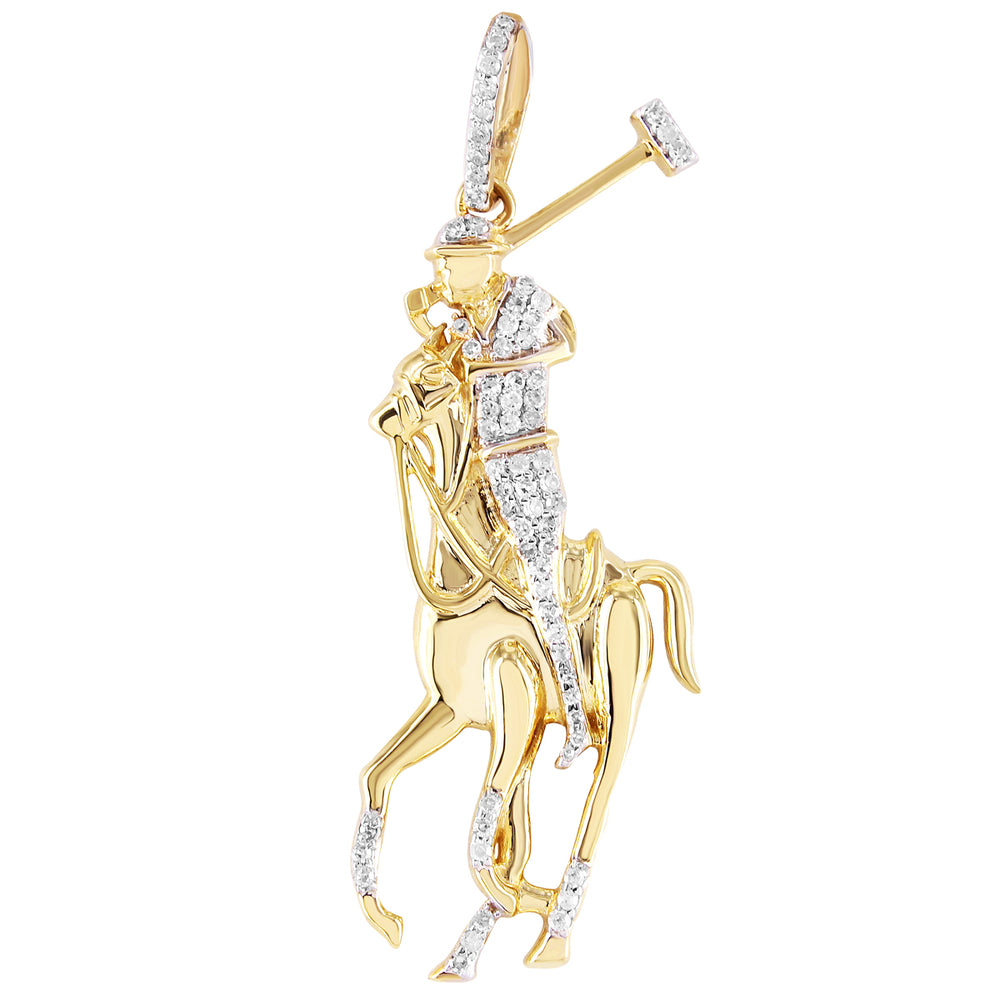 10K Yellow Gold Polo Horse Pendant