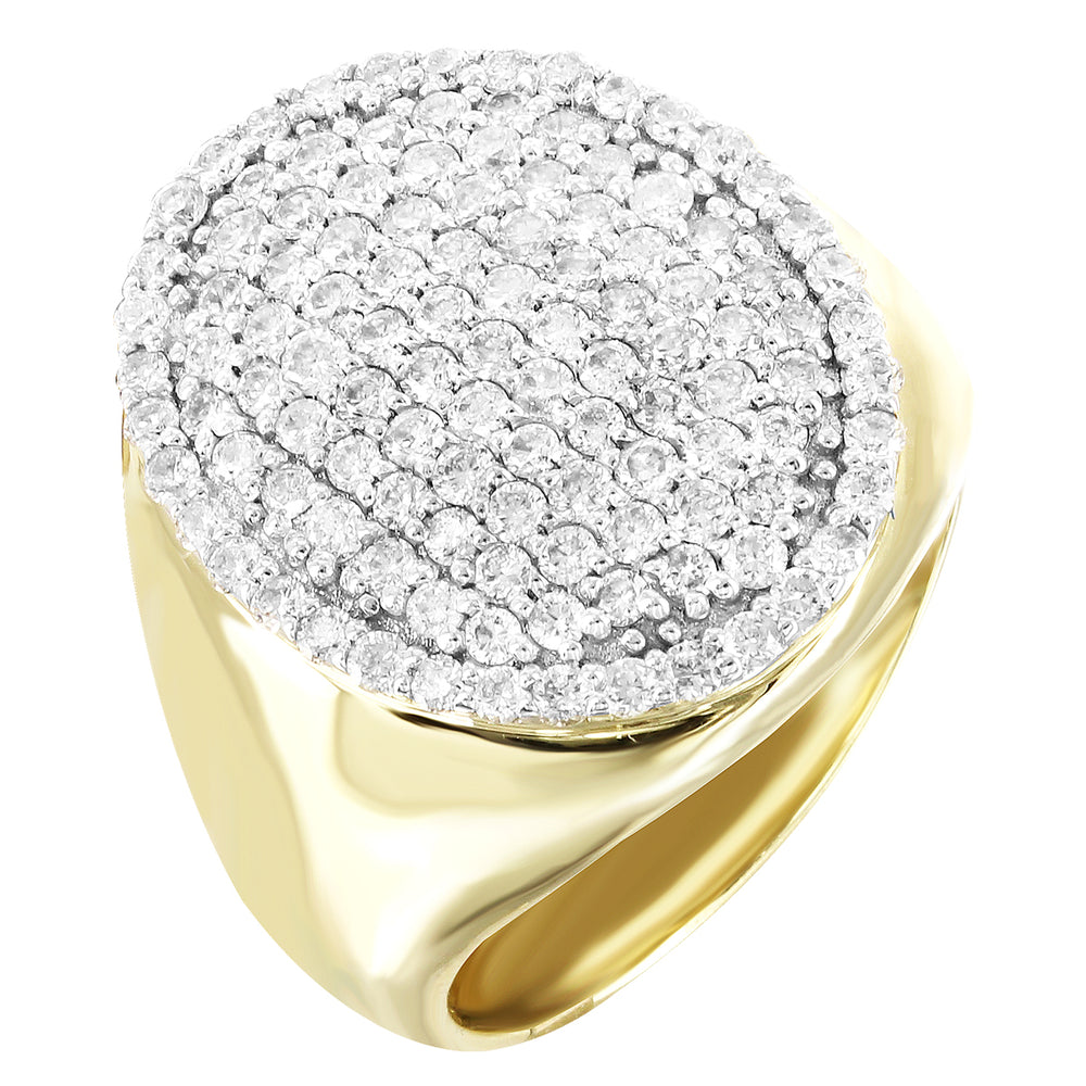 Oval Top 10K Gold Genuine Diamonds Men's Signet Ring