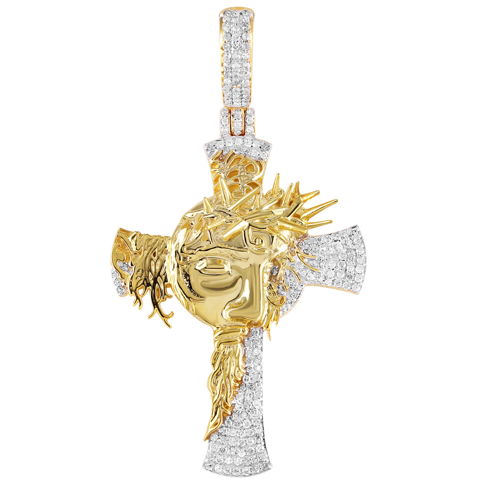 Diamond Cross With Jesus Face Pendant 10K Gold