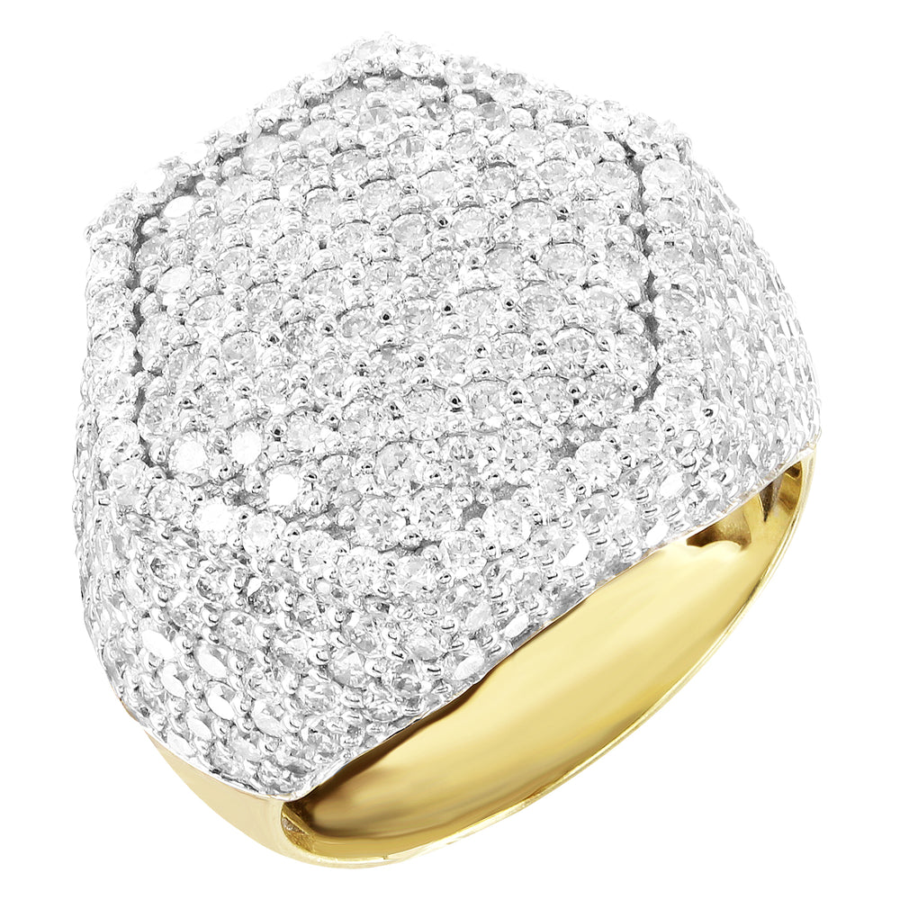 Hexagonal Top Men's Signet Ring 10K Gold Genuine Diamonds