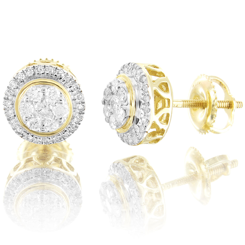 Round Halo Cluster Genuine Diamonds 10K Yellow Gold Earrings