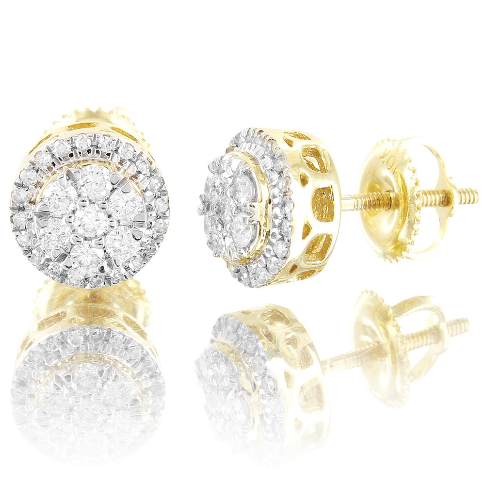 10K Gold Round Flower Solitaire Diamonds Studs Earrings