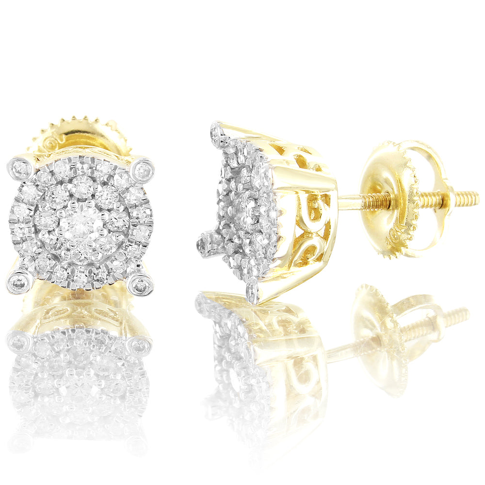 10K Yellow Gold Center Solitaire Micro Pave Set Diamond Earrings