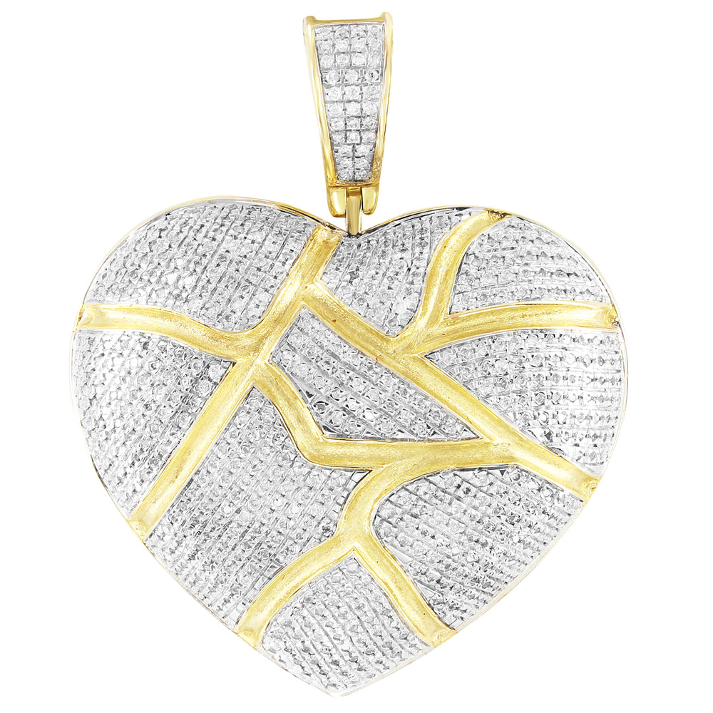 Cracked Broken Heart 10K Gold Cluster Diamonds Custom Pendant