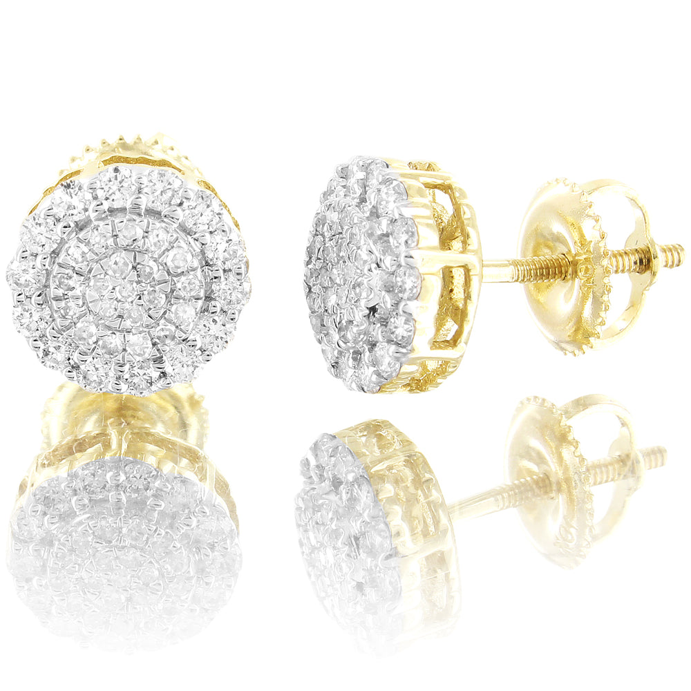 Round Flower Cluster 10K Gold Diamonds Stud Earrings