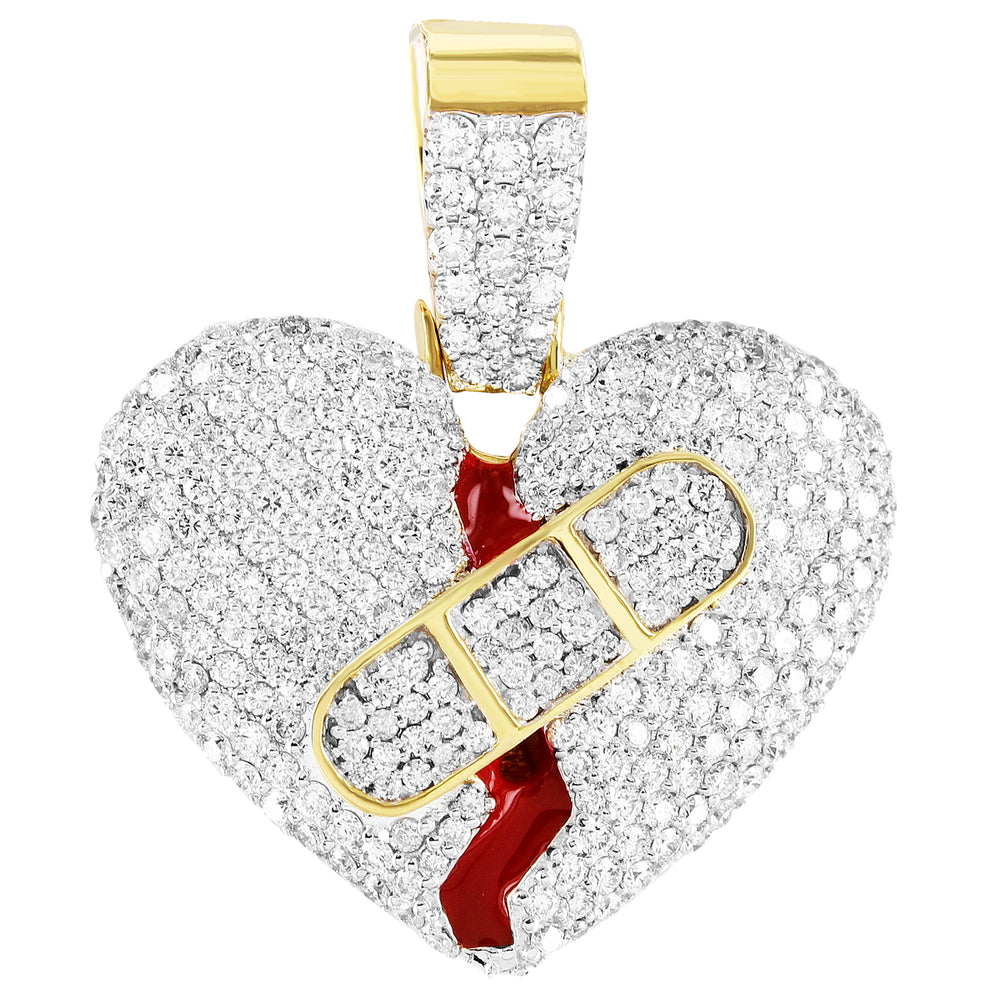 Bloody Wounded Heart Diamond Pendant