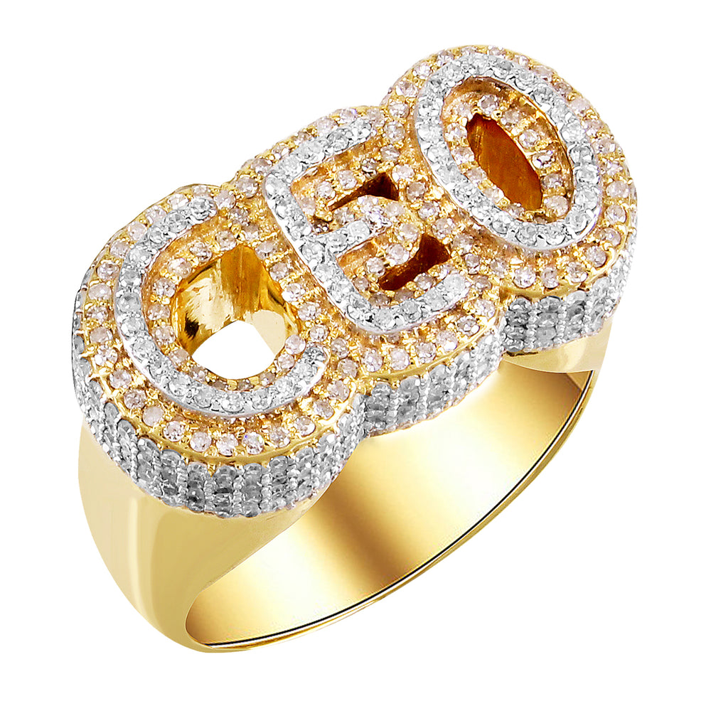 10K Gold Double Layered CEO Diamonds Men's Ring