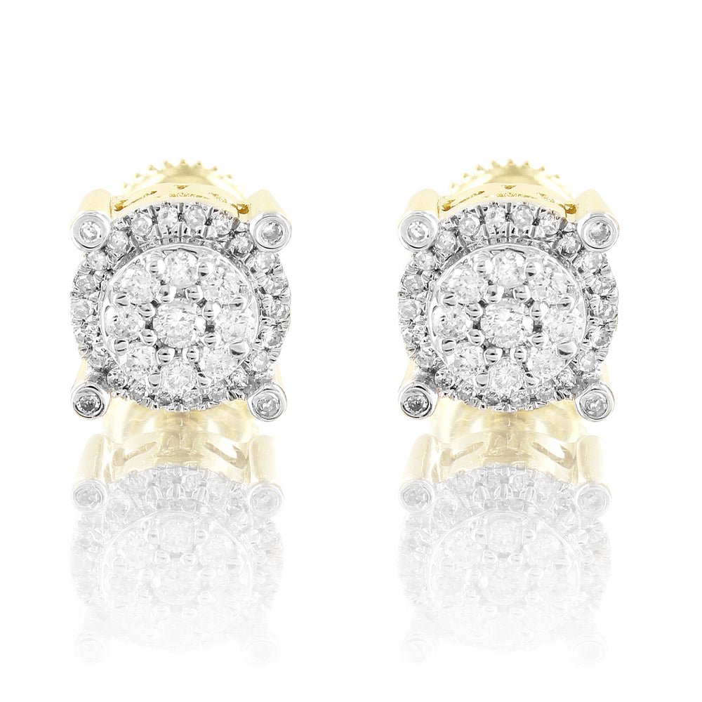 10K Gold Round Solitaire Flower Cluster Prong Set Earrings