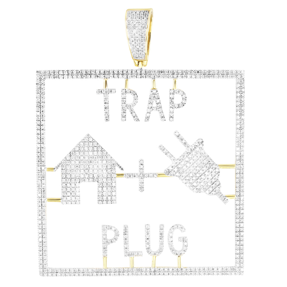Trap House + Plug Emoji 10K Gold Genuine Diamonds Pendant
