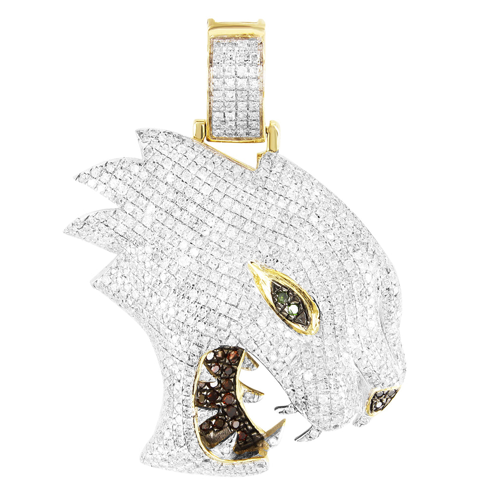 10K Gold Diamonds 3D Look Roaring Panther Pendant