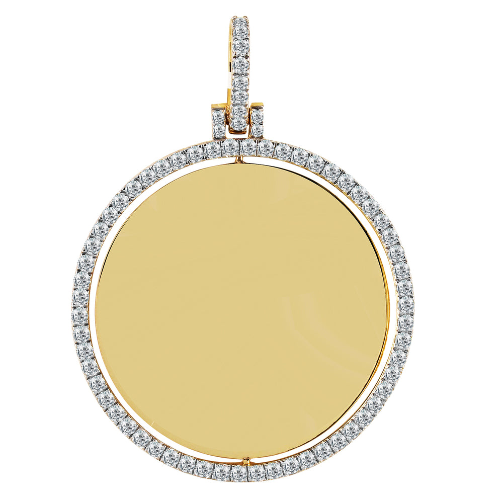10K Yellow Gold Double Sided Diamond Picture Pendant