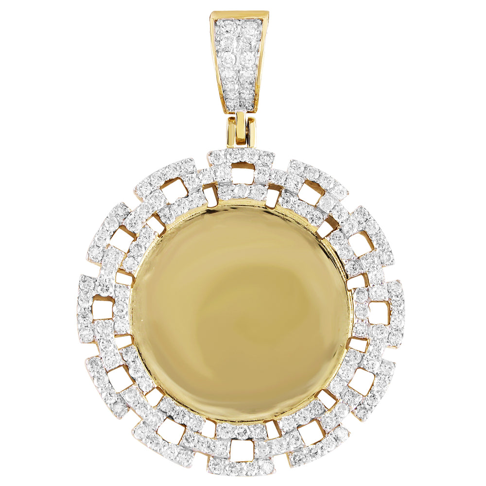 10K Gold Diamond Chain Link Picture Pendant