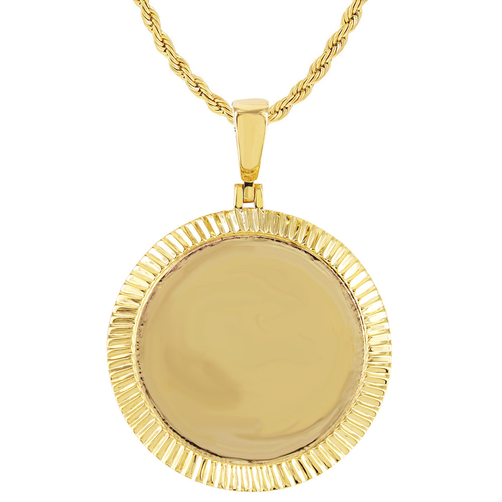 10K Yellow Gold Fluted Bezel Picture Pendant