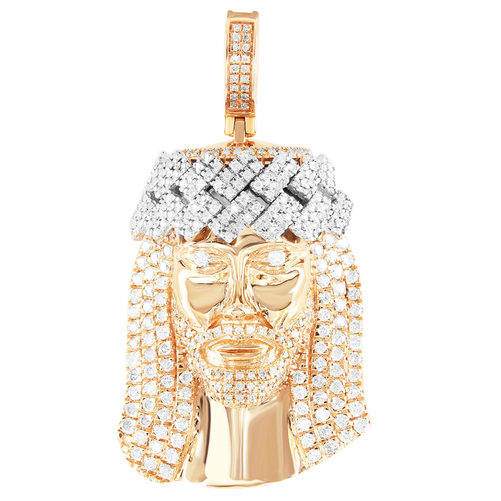 10K Rose Gold Two-Tone Crown Diamonds Jesus Face Pendant