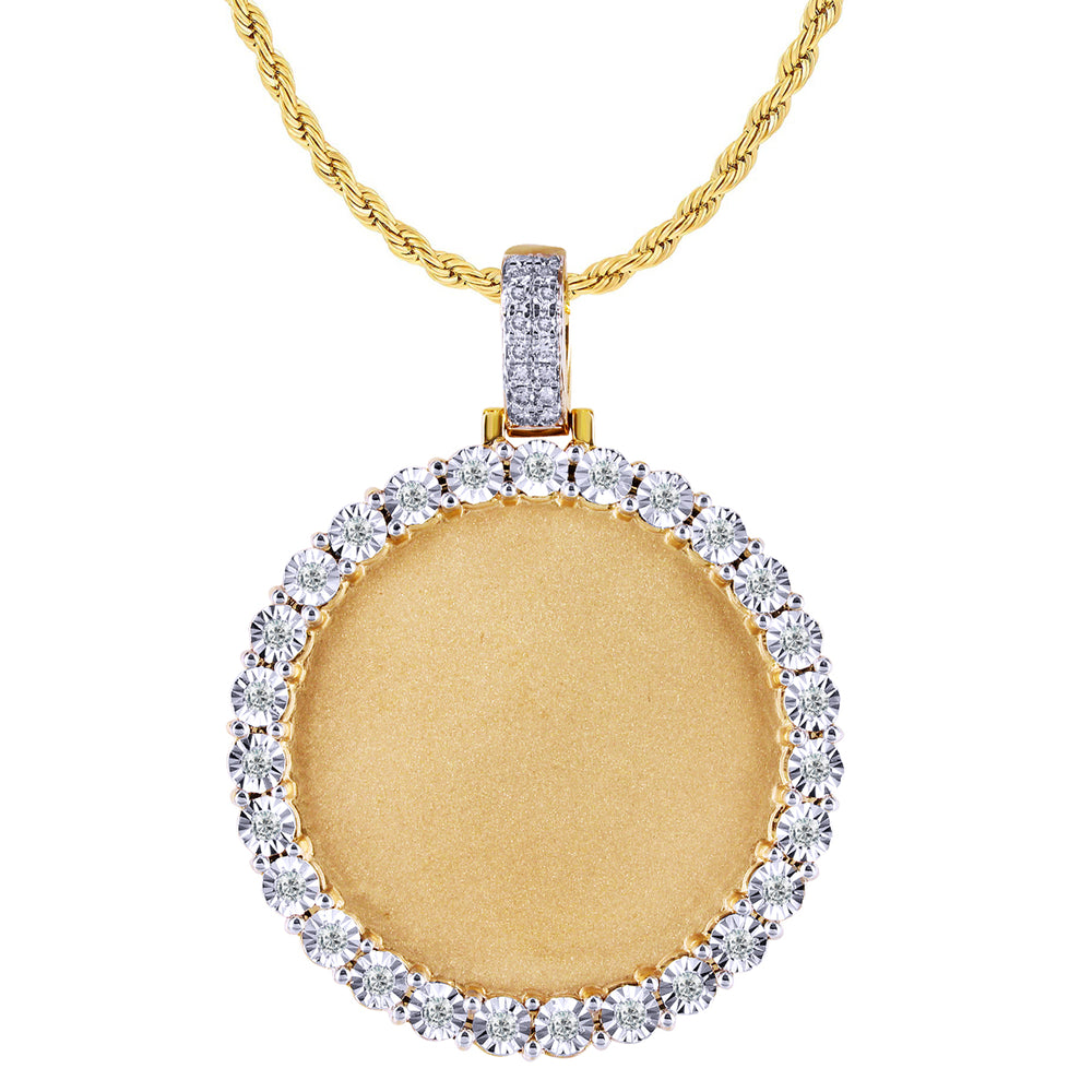 10K Yellow Gold Round Cut Diamond Picture Pendant