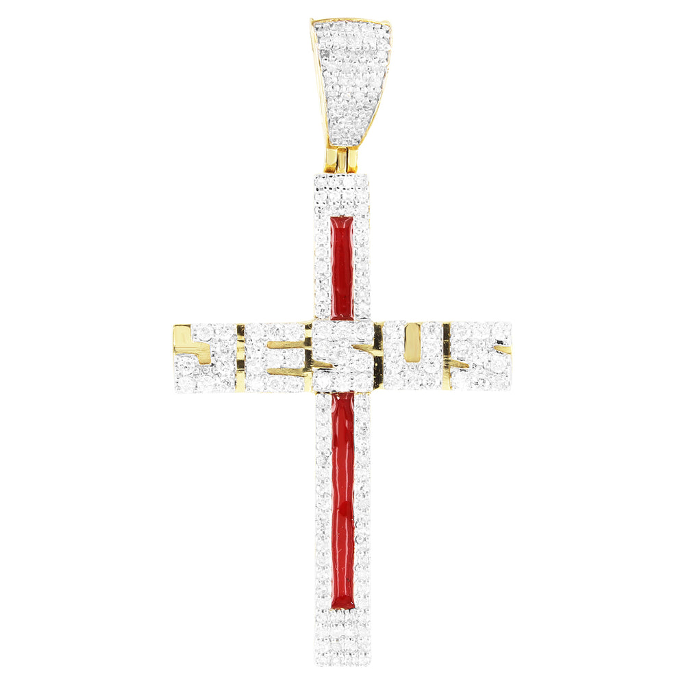 Religious Jesus Bleeding Cross 10K Gold Diamonds Pendant