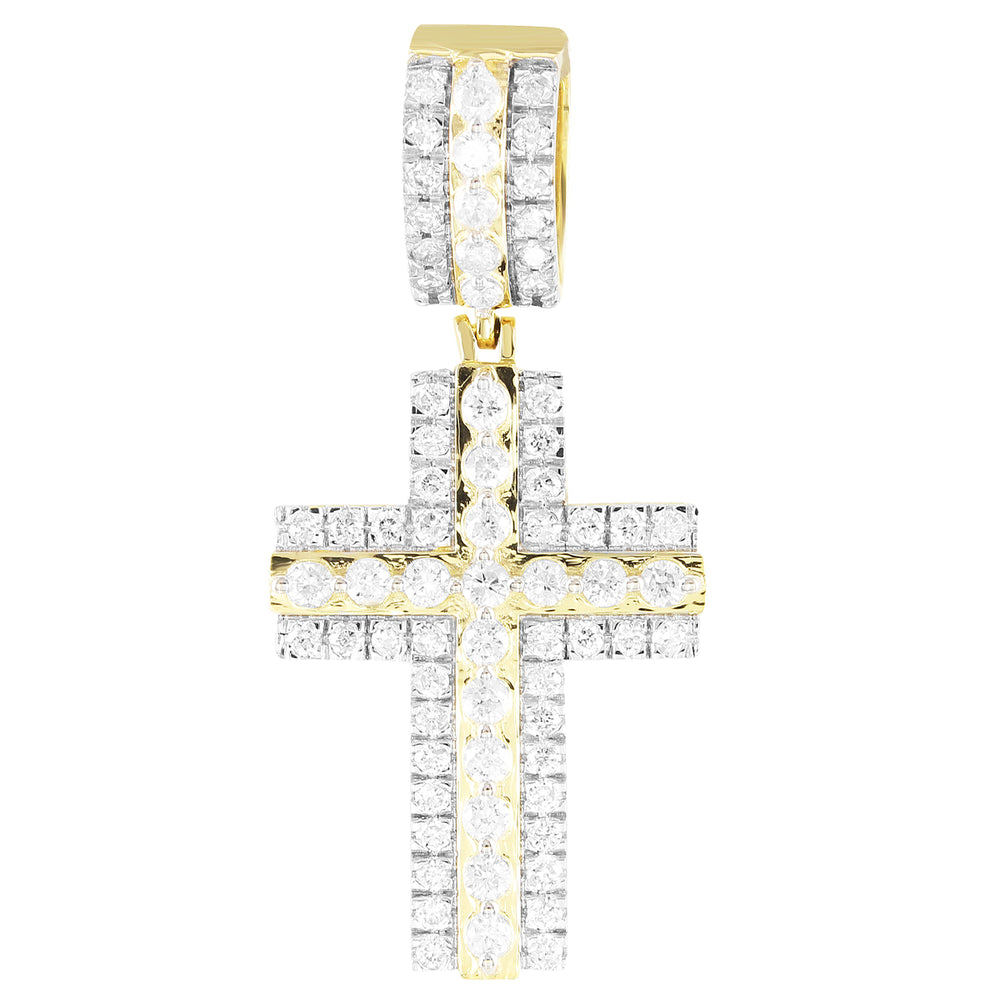 Double Layer Two Tone Solitaire Diamonds 10K Cross Pendant