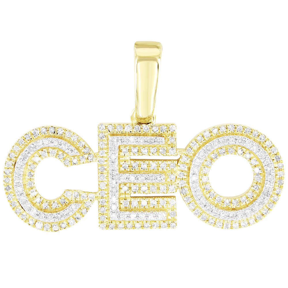 Double Layer Block Letters CEO Custom 10K Diamonds Pendant
