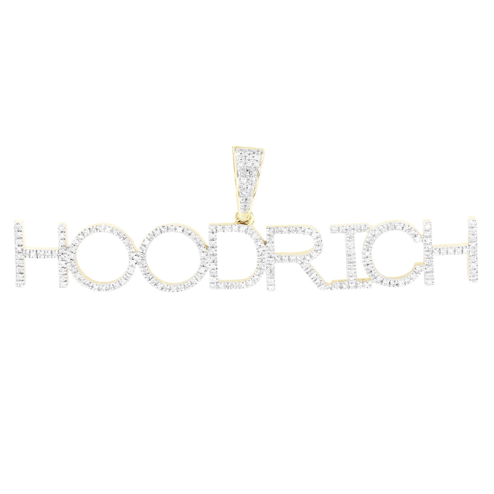 HOODRICH Initials Name 10K Gold Diamonds Pendant