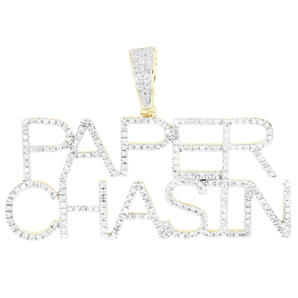 Paper Chasin Custom Name 10K Gold Diamonds Pendant