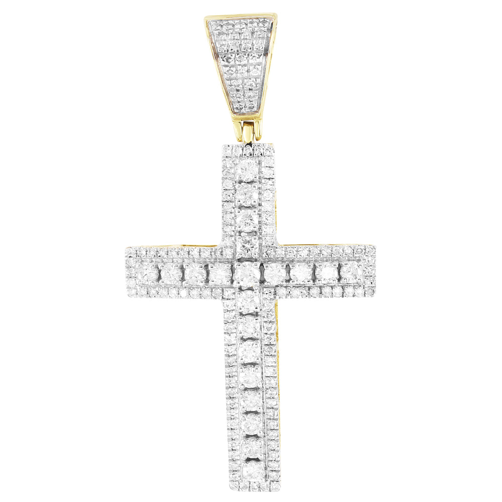 Solitaire Diamonds Religious Cross 10K Gold Micro Pave Pendant