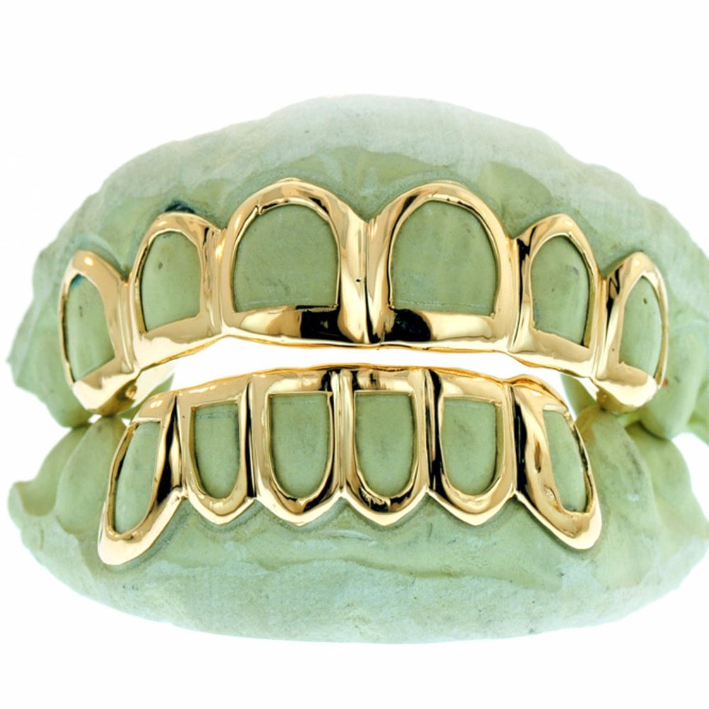Open Face Outline Grillz Yellow White Rose Gold
