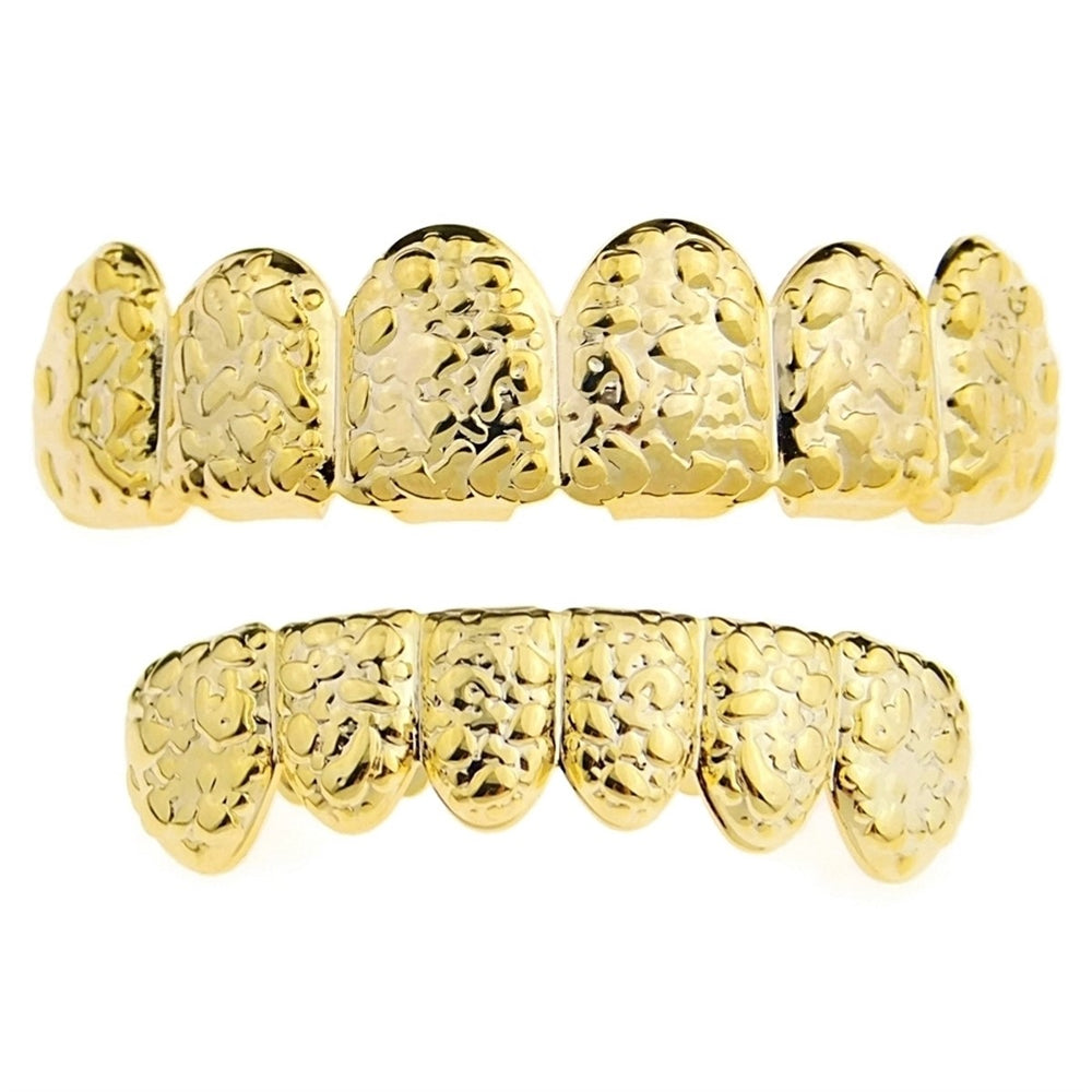Nugget Deep Cuts Solid Gold Custom Grillz 10K 14K 18K
