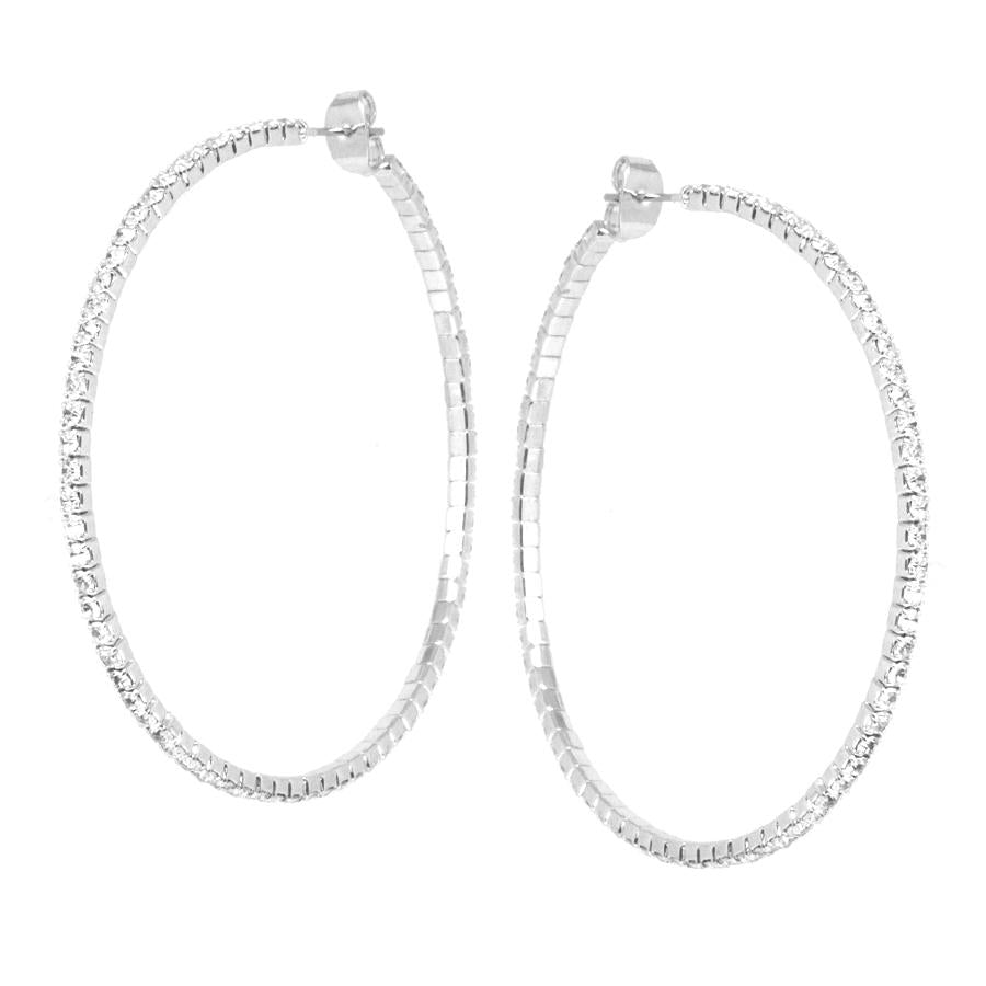 Feather Light Rhinestone Hoop Earrings